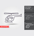ambulance helicopter linear medical symbols with vector image