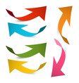 arrow icons colorful paper bent arrows set vector image