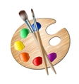 Art palette with paint brush for drawing vector image vector image