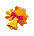 bell with bow and leaves set of school and vector image