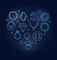 blue creative heart shape made of jewelry vector image vector image