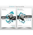 blue square annual report leaflet brochure flyer vector image vector image