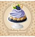 Blueberry dessert badge vector image vector image