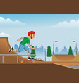 boy playing skateboard on skatepark vector image vector image