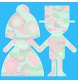 Bride and groom simple silhouette painted colorful vector image vector image