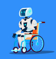 broken robot moving in wheelchair isolated vector image vector image