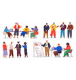 businesspeople meeting partnerships concept set vector image