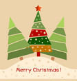christmas greeting card christmas decorated tree vector image vector image