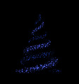 christmas tree 3d card background blue christmas vector image
