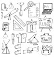 Classroom supplies doodles school education vector image vector image