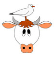 cow and bird on white background vector image vector image