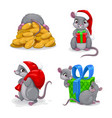 cute cartoon mice set festive holiday mouse icons vector image