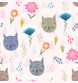 cute cartoon pattern with cats heads and flowers vector image vector image