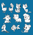 cute domestic animals set vector image
