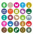 Easter icons set circle vector image