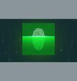 fingerprint scan on screen in digital matrix vector image