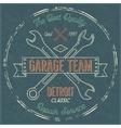 Garage service vintage label tee design Detroit vector image vector image