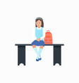 girl with bag sitting on bench vector image vector image