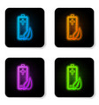 glowing neon eco nature leaf and battery icon vector image vector image