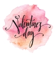 Handwritten Valentines Day calligraphy on red vector image