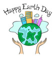 happy earth day with city on the world vector image vector image