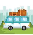 hippie minivan design vector image vector image