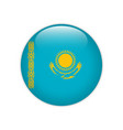 kazakhstan flag on button vector image vector image