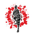 kung fu action ready to fight front view vector image vector image