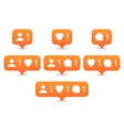 Like follow comment icons in flat style vector image
