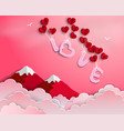 love with red balloons floating in the air vector image