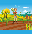 male farmer harvesting crop cultivated vector image vector image