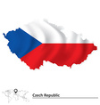 Map of Czech Republic with flag vector image vector image