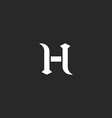 Medieval letter H logo old style design element vector image vector image