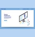 online healthcare isometric website template vector image vector image