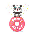 panda on pink donut vector image
