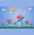 pink flower field with grass and sky paper art vector image