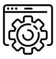 program window gear icon outline style vector image vector image