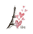 Romantic background heart and eiffel tower vector image