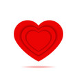 romantic red heart with shadow isolated icon vector image vector image