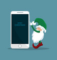 santa claus elf pressing a cellphone vector image