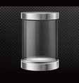 sealed glass cylinder capsule realistic vector image