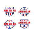 set american football sport logo with gridiron vector image