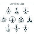 set of isolated ocean or sea lighthouse vector image vector image