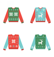 Set of ugly christmas sweaters with winter pattern vector image