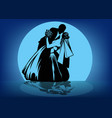silhouettes of kissing bride and groom against the vector image vector image