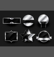 silver blank badges or labels design collection vector image vector image