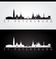 st petersburg skyline and landmarks silhouette vector image vector image