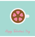 Tea cup with coffee Five pink heart marshmallow vector image vector image
