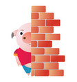 the pig hides behind the wall and peeps vector image