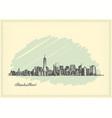 vintage postcard with sketch manhattan new york vector image vector image